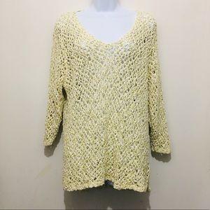 J. Jill 100% Cotton V-Neck Open Knit Tunic Sweater
